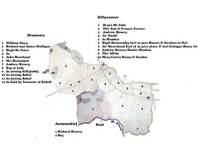 Map of townlands in Killeevan estate of William Forster, 1795