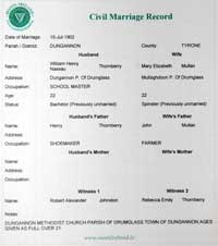 Photo of copy of marriage cert Thornberry-Mullen